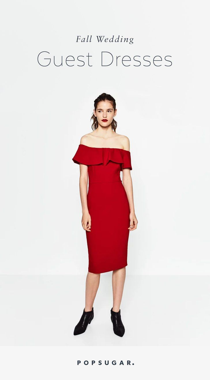 Your Wedding Guest Dilemmas Solved In 27 Dresses Shoulder Dress Dresses Glam Dresses [ jpg ]