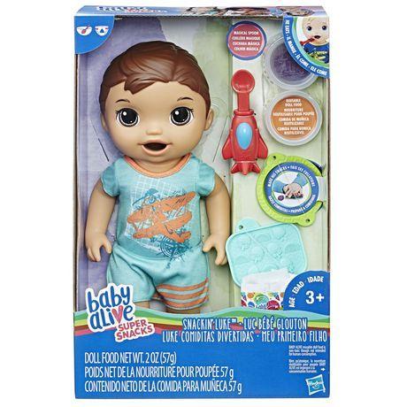 Baby Alive Super Snacks Snackin Luke Brunette Multicolor Nicad Nickel Cadmium Baby Alive Baby Alive Dolls Baby Alive Food