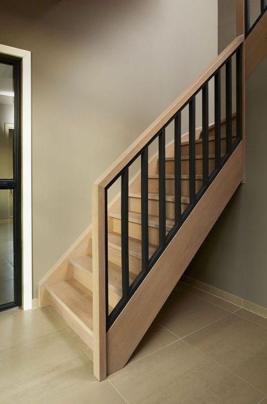 Eiken trap met houten balusters in beuk zwart gemaakt eiken trap pinterest staircases - Houten trap ...