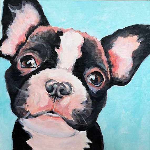 French Bulldog Watercolor Painting Contemporary 11 x 14 Art Print by Artist DJR