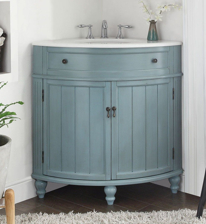 24 Benton Collection Light Blue Thomasville Corner Bathroom Sink