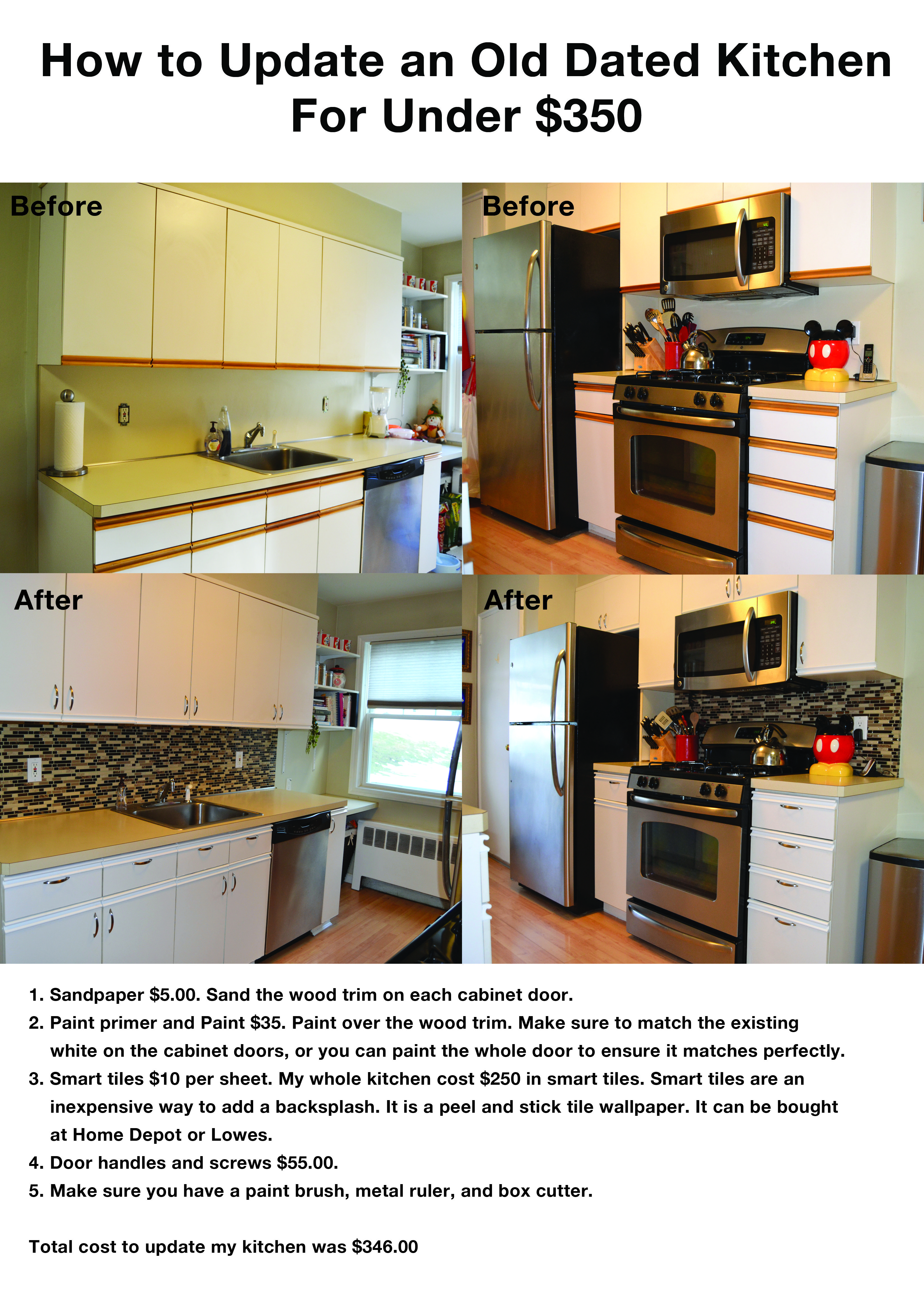 Condo Kitchen Remodel Painting how i updated my old dated 80's kitchen for under $350.00 #kitchen