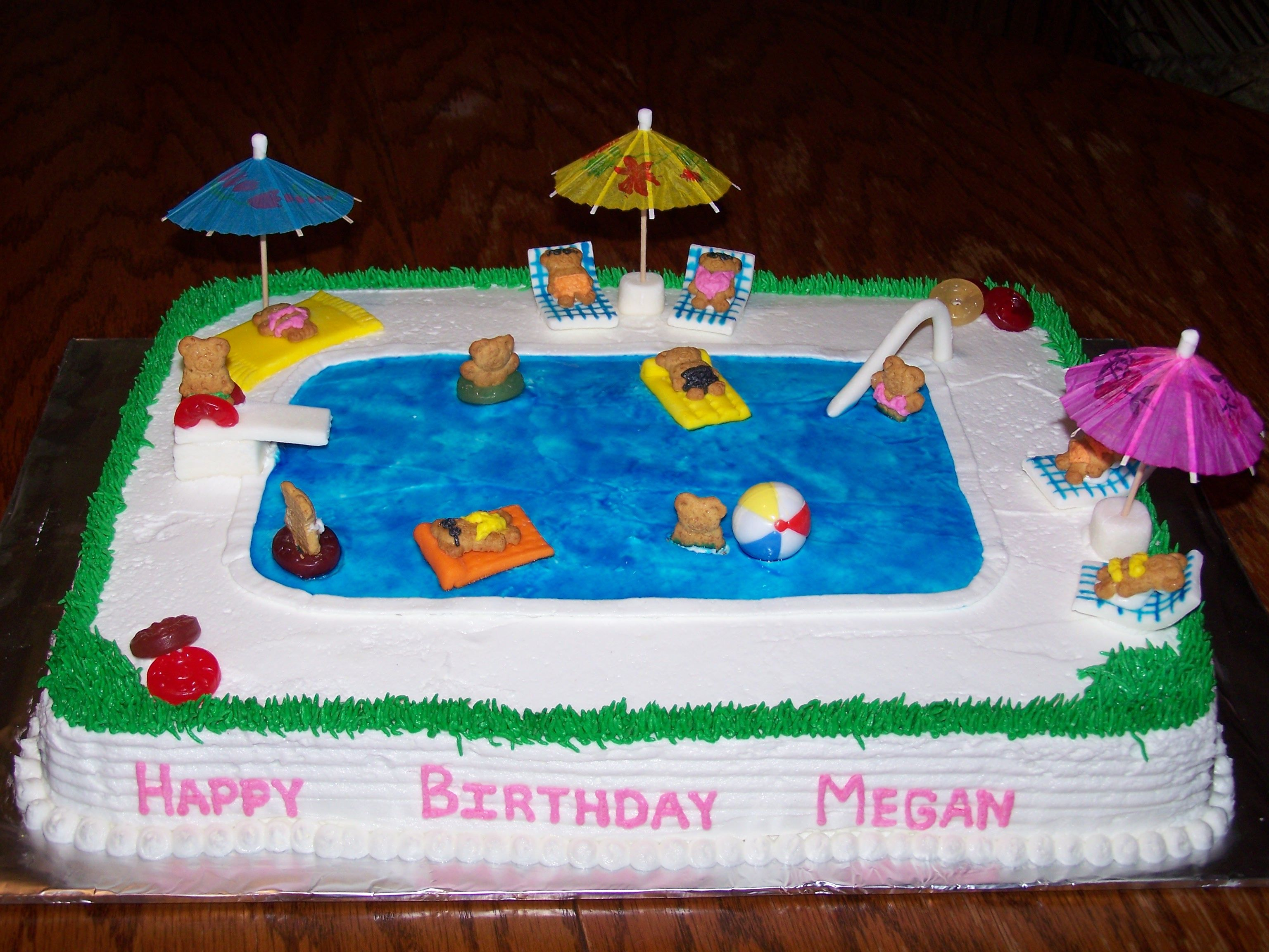 Miraculous Swimming Pool Cake With Images Pool Party Cakes Pool Cake Funny Birthday Cards Online Inifodamsfinfo