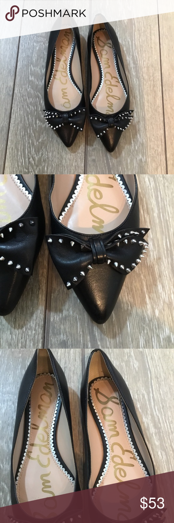 851fc78c570c4a Sam Edelman Raisa black pointy bow stud flats 6.5 Sophistication meets edge  with this pointy Toe
