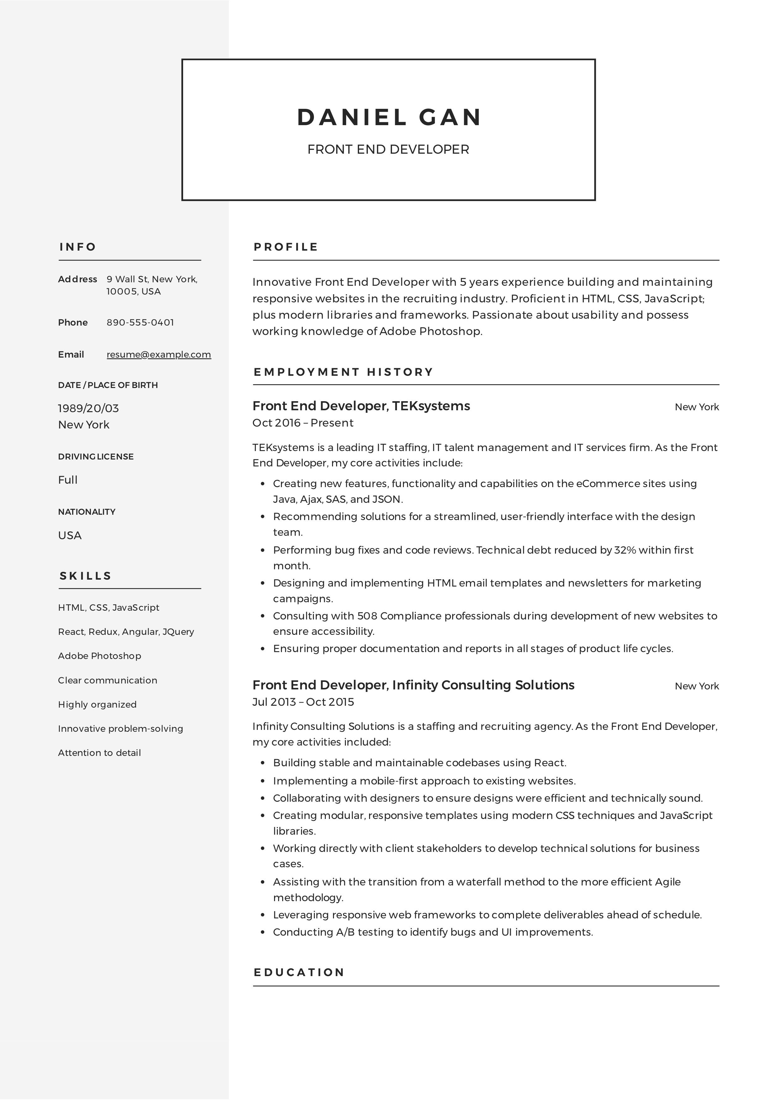 Front End Developer Resume Guide Resume Examples Web