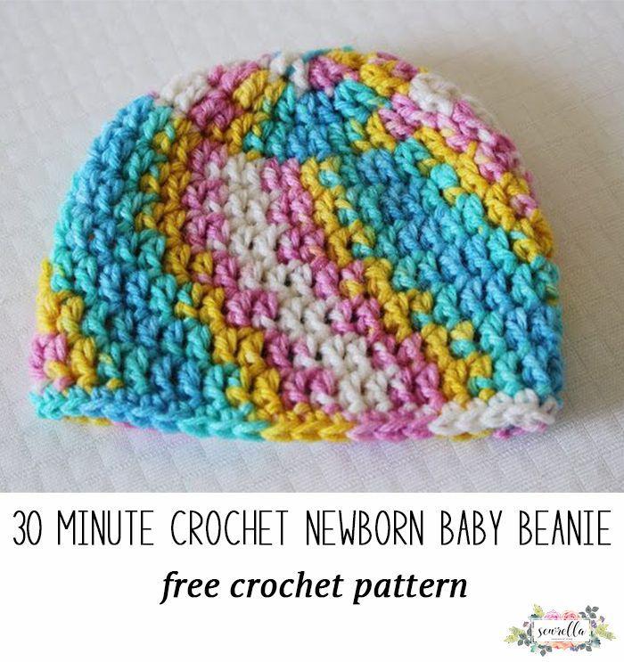 30 Minute Crochet Newborn Baby Beanie Free Crochet Patterns
