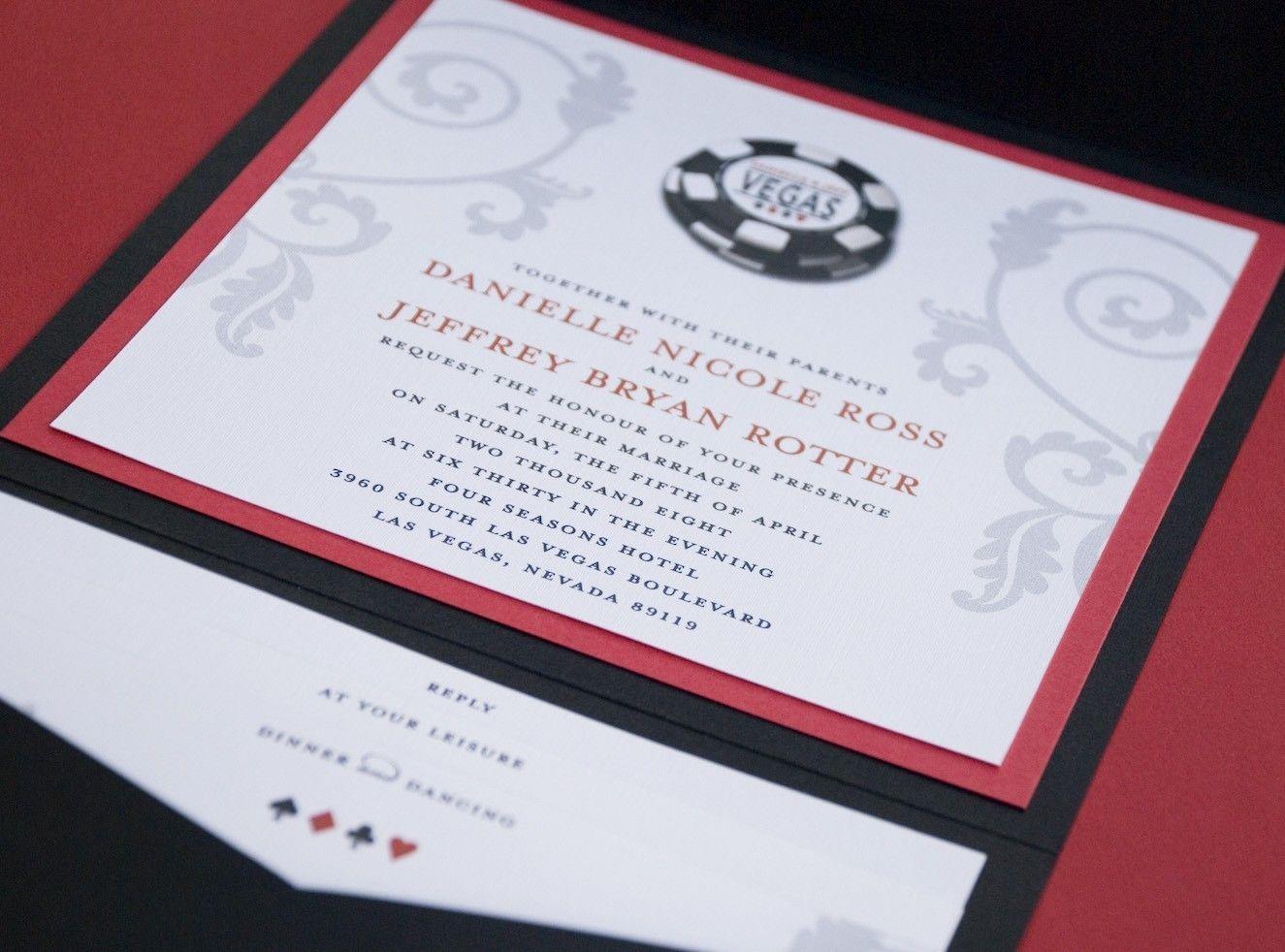 pokerowe zaproszenie/ Vegas Poker Chip Wedding Invitation (Pocket ...