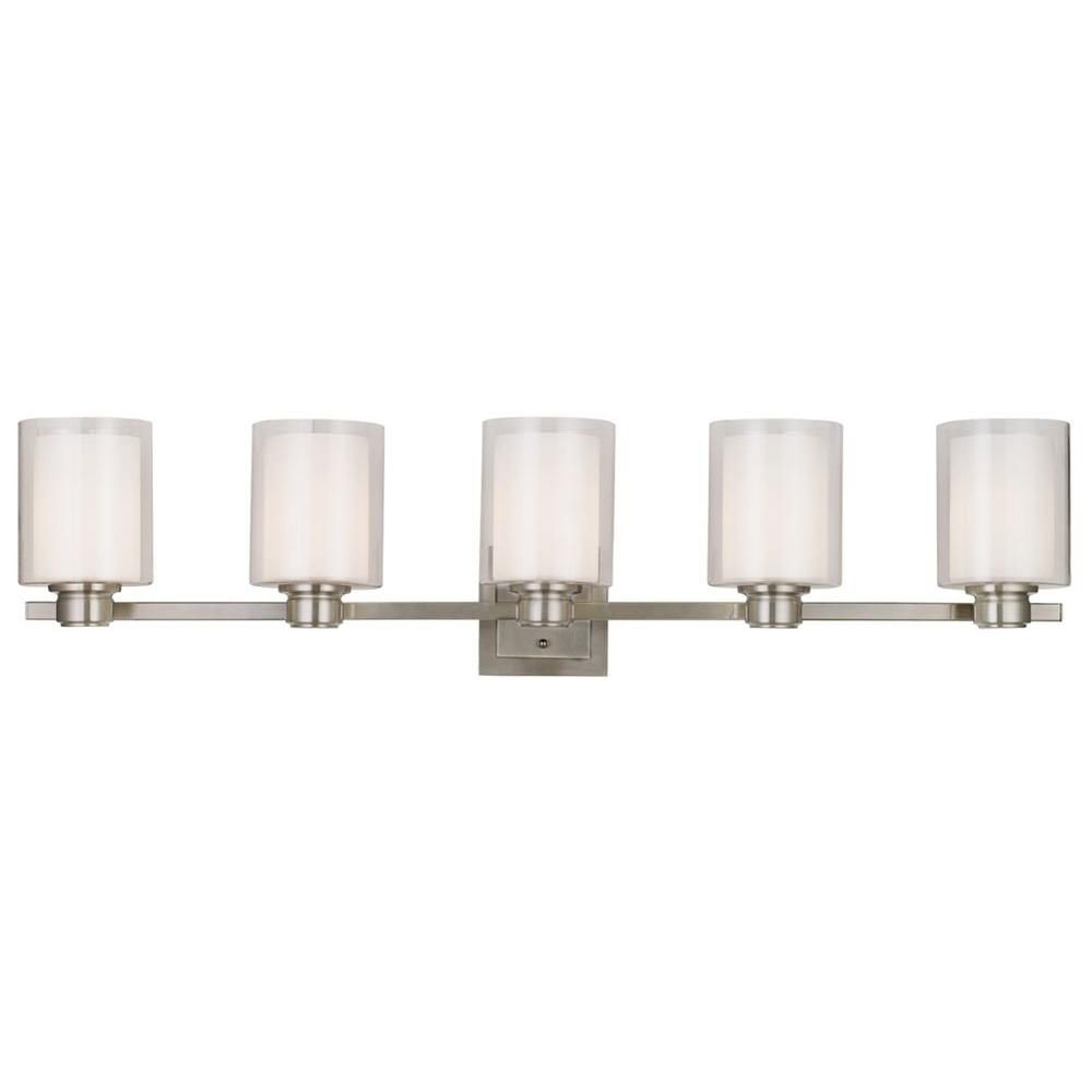Design House Oslo 44 In W 5 Light Brushed Nickel Vanity Light 556175 The Home Depot Light Fixtures Bathroom Vanity Bathroom Light Fixtures Vanity Light Fixtures