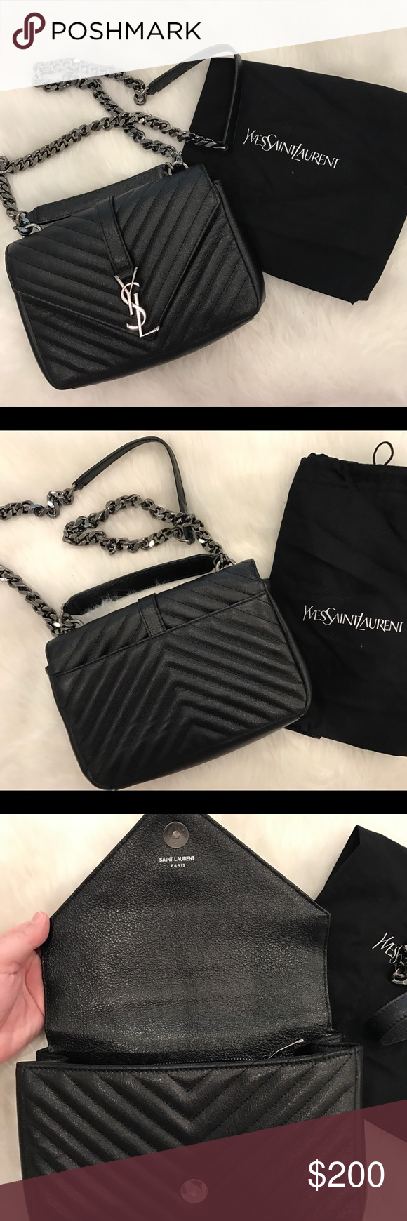 ac8c4f7bc11 YSL BLACK SMALL COLLEGE CHAIN CROSSBODY BAG Yvette Saint Laurent YSL black  small college crossbody bag