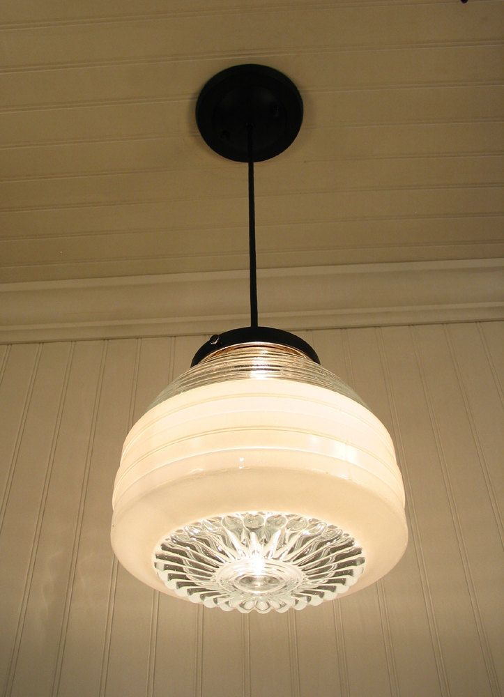 Vintage Milk Glass and Clear Globe PENDANT Light - Glass Hanging ...