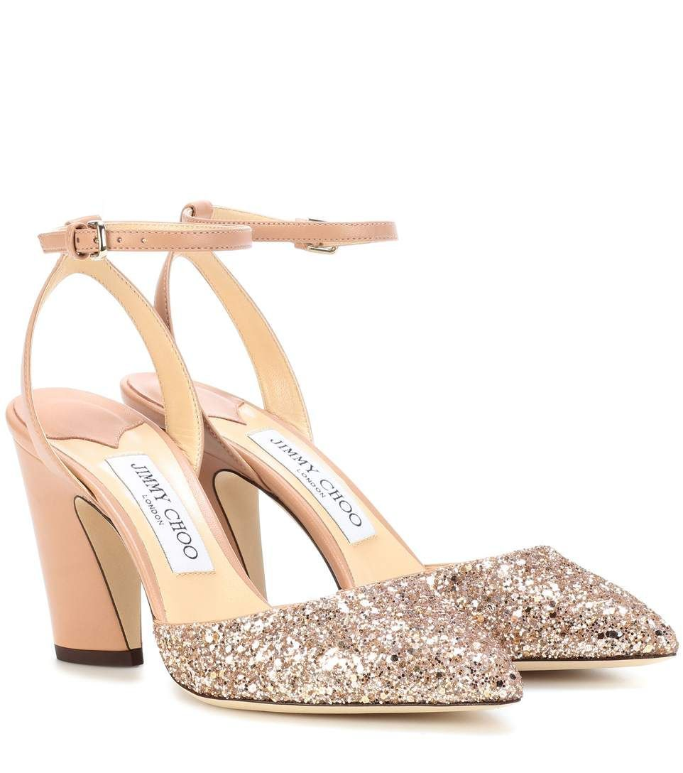 JIMMY CHOO Micky 85 leather and glitter