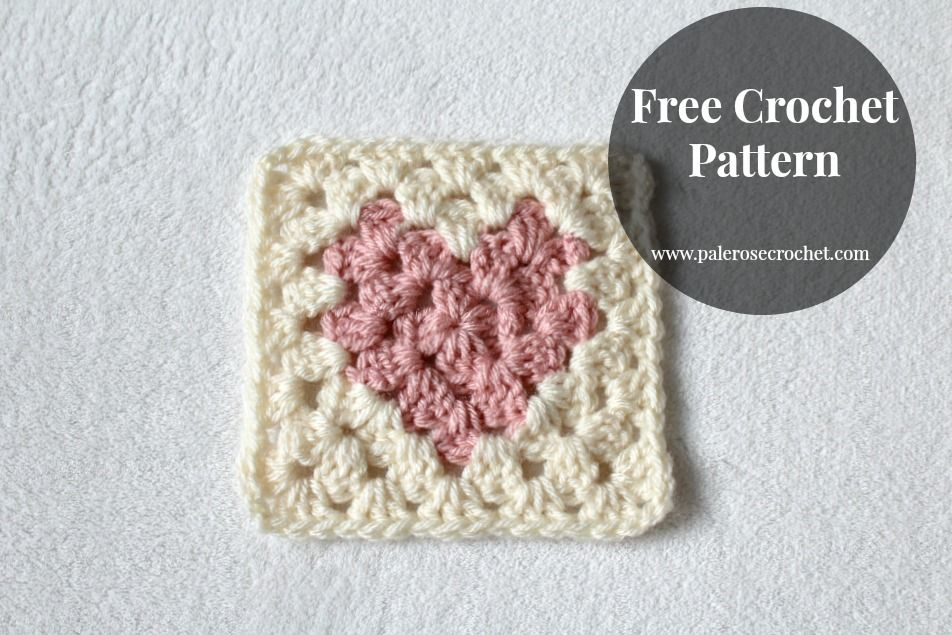 Crochet Free Pattern Love Heart Granny Square Pale Rose Crochet