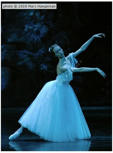 Anastasia Gubanova as Giselle in Act 2 of Moscow City Ballet's Giselle. Photo by Marc Haegeman