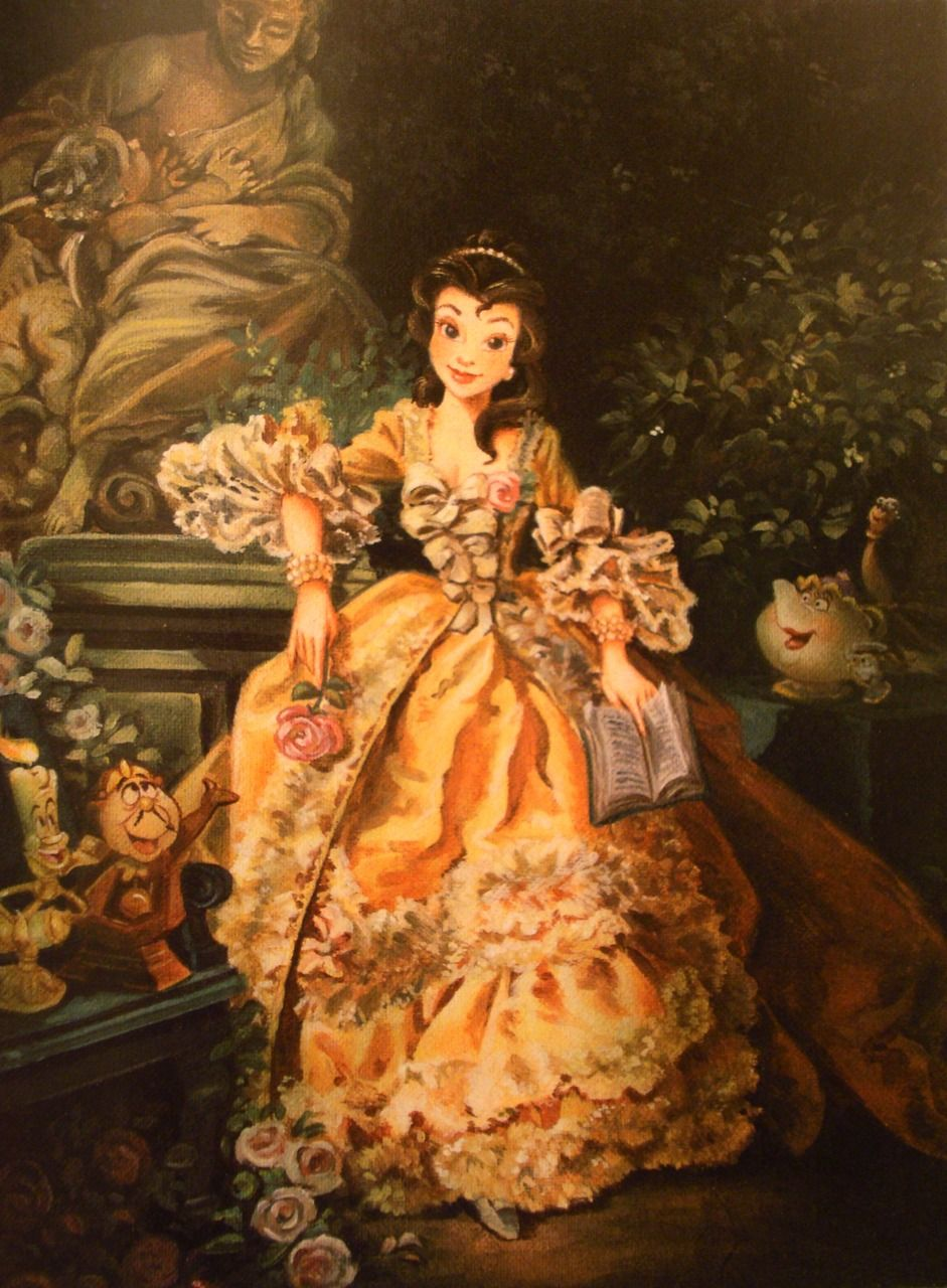 Belle with book. Maria Elena Naggi. The Art of the Disney Princess (Disney Editions, October 2009). Naggi's take on Belle from Disney's Beauty and the Beast. This richly detailed oil painting illustrated in the book clearly draws its inspiration from Francois Boucher's Portrait of Madame Pompadour. Copyright 2009 Disney Enterprises, Inc.