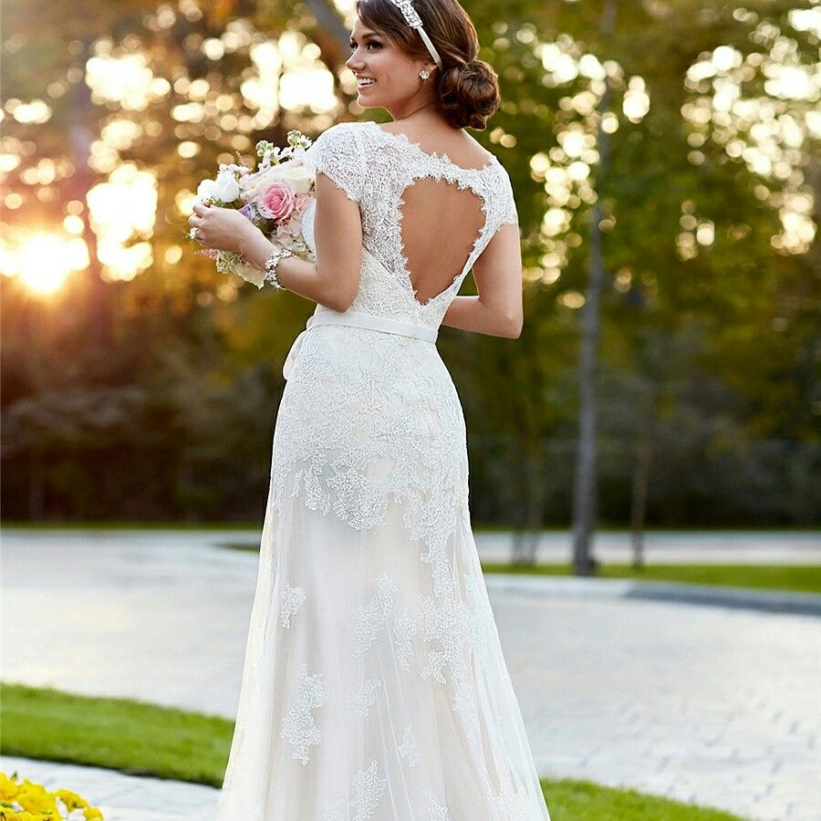 Lace over illusion cap sleeves vneck wedding dresses with keyhole