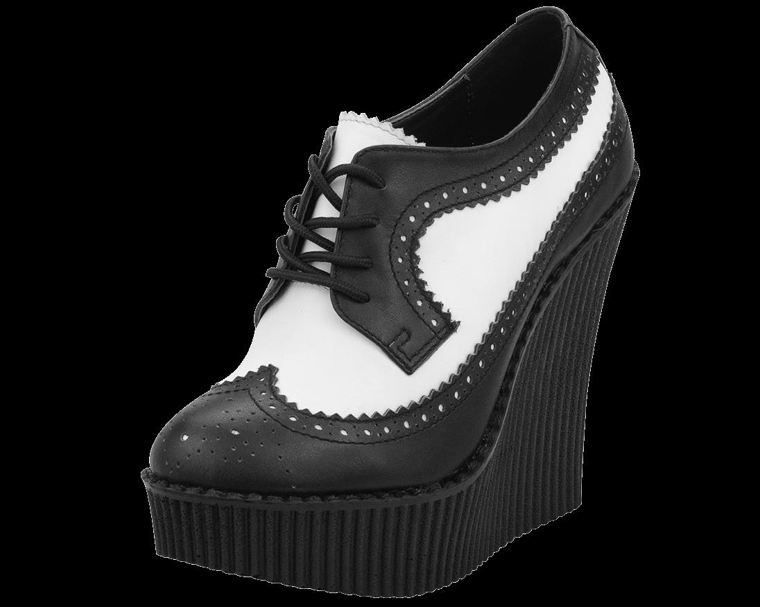 T U K Shoes White Leather Creeper Heel