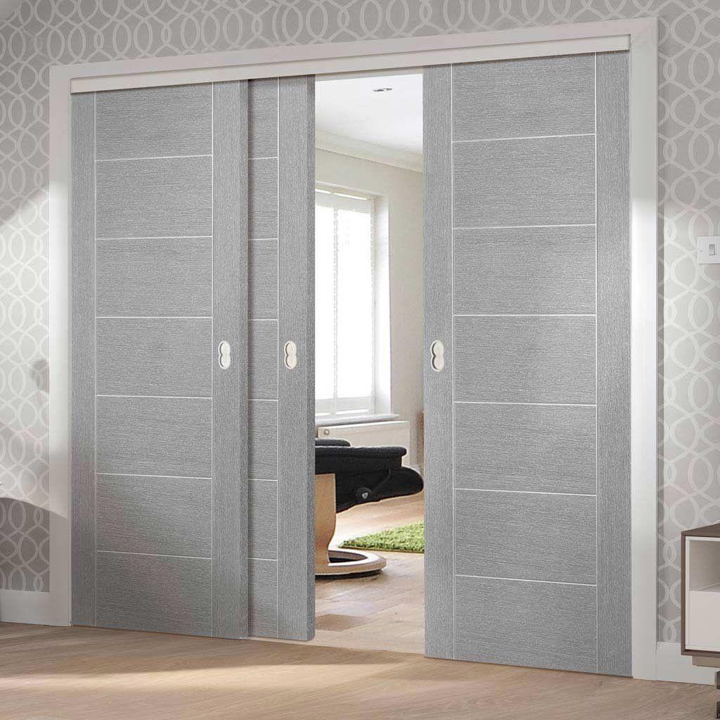 Three Sliding Doors And Frame Kit Palermo Light Grey Flush Door Prefinished Sliding Doors Flush Doors Grey Doors
