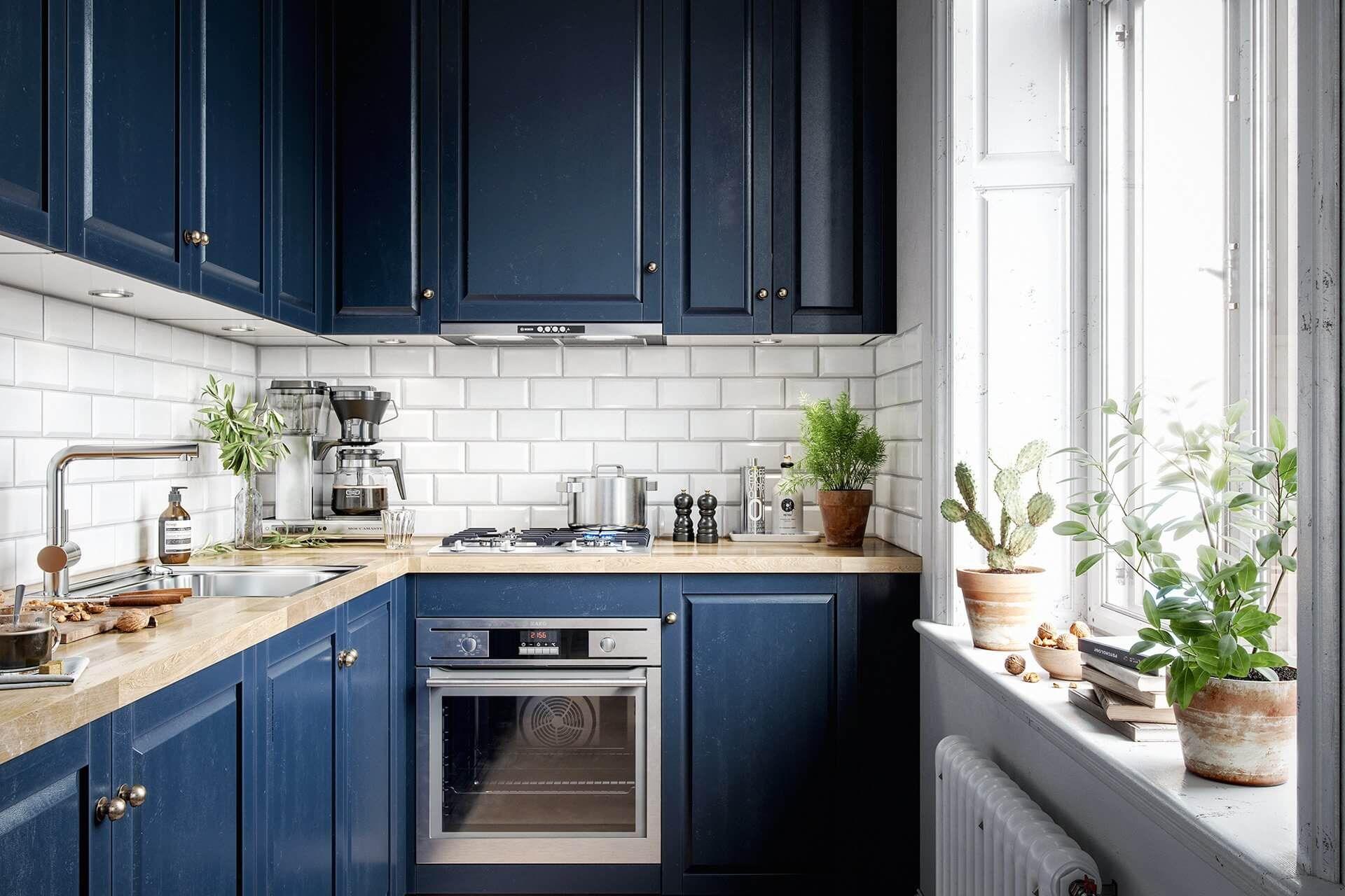 Blue scandinavian kitchen // cgi visualization | Scandi ...
