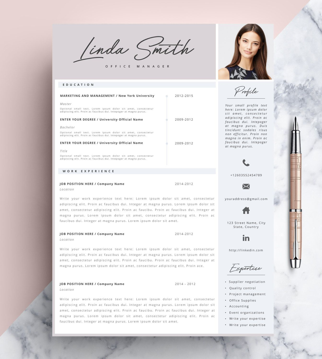 Professional Resume Template, Cv Template Editable In Ms Word And