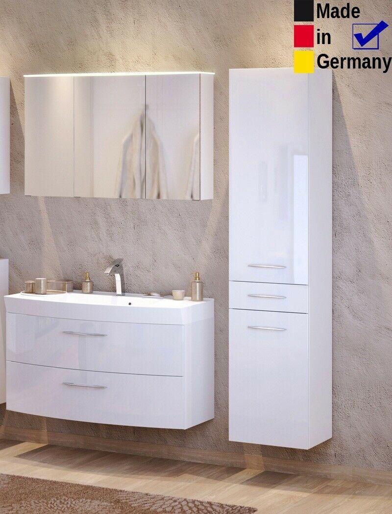 Badezimmer Fiona 31 Hochglanz Weiss 3 Teilig Waschtisch 3d Spiegelschrank Led Badezimmermobel Idee In 2020 Spiegelschrank Led Badezimmer Mobel Badezimmermobel Holz