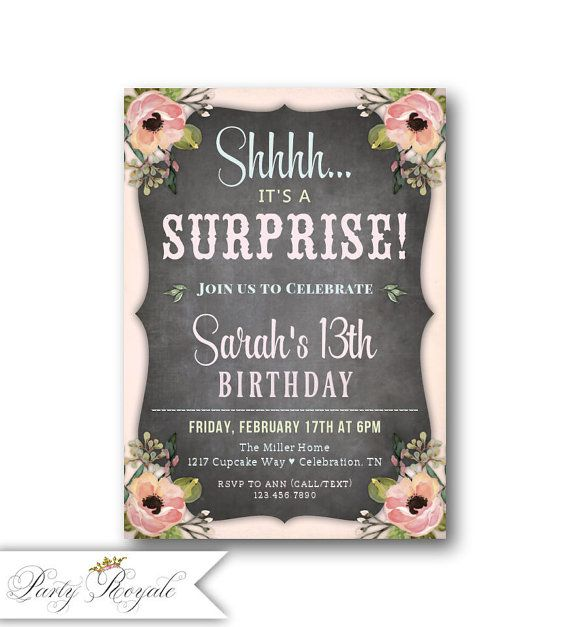 Teen surprise birthday invitations 13th 14th 15th birthday teen surprise birthday invitations 13th 14th 15th birthday filmwisefo Image collections