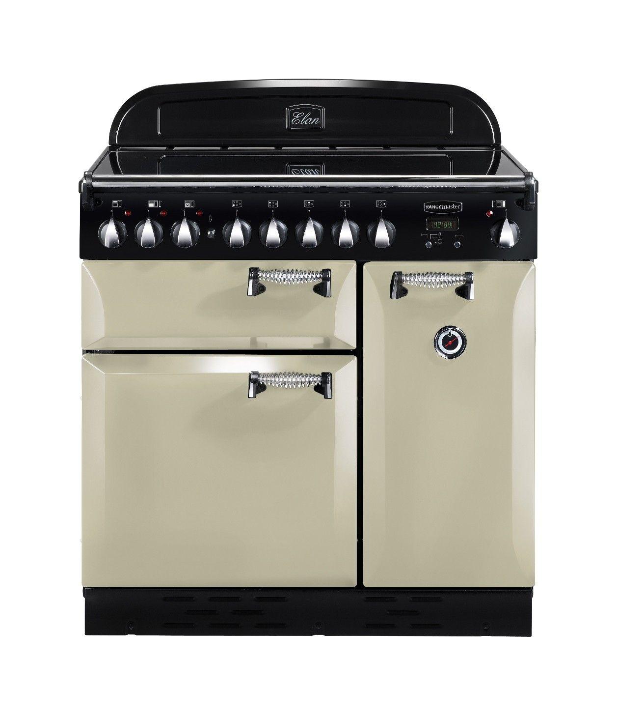 Elan Induction Cream Range Cooker - Cuisiniere electrique four chaleur tournante pour idees de deco de cuisine