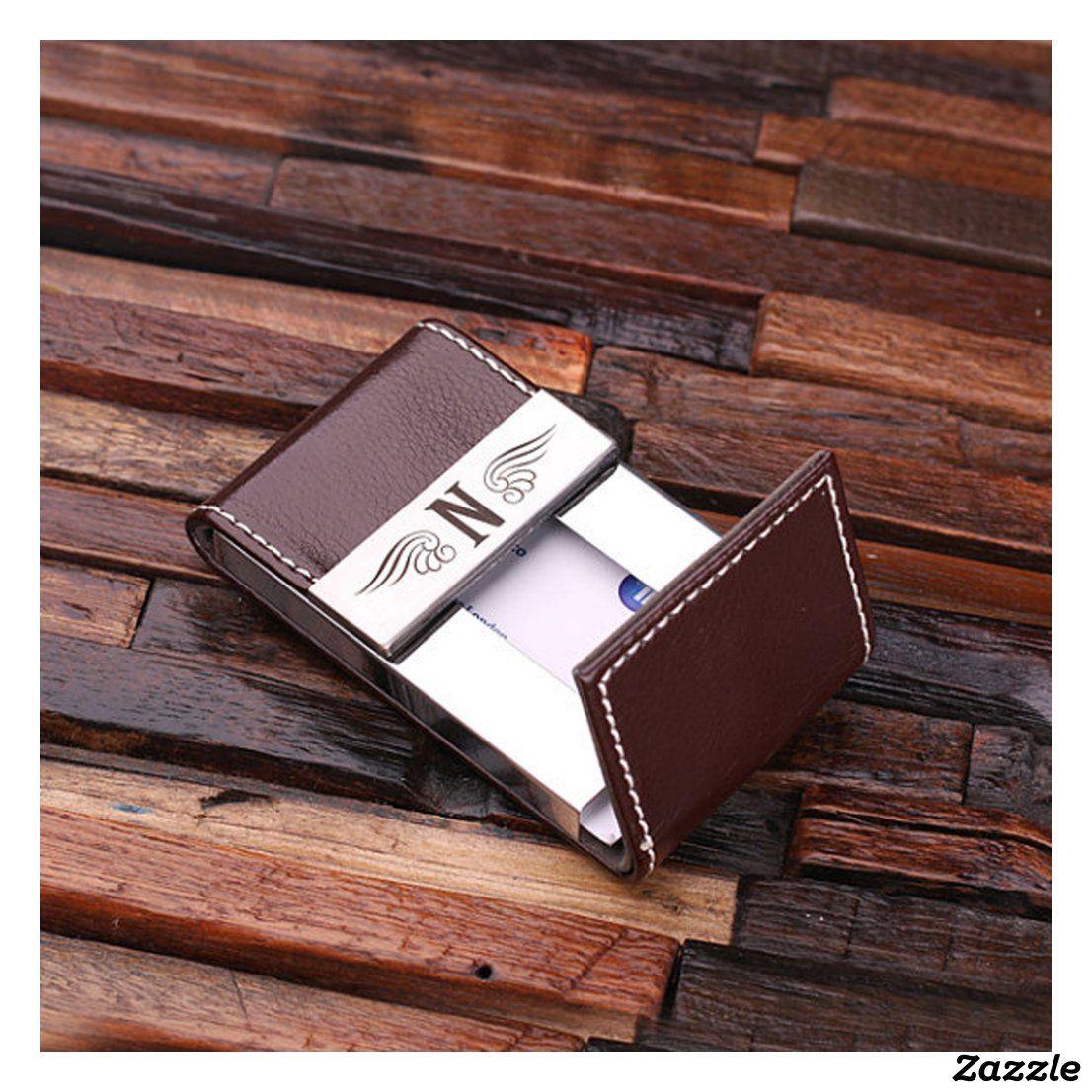Brown Monogram Leather Business Card Holder Zazzle Com In 2021 Leather Business Card Holder Monogrammed Business Card Holder Leather Business Cards