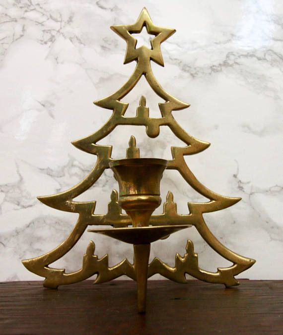 Vintage Brass Christmas Tree Candle Holder.Vintage Brass Christmas Tree Candle Holder Brass Home