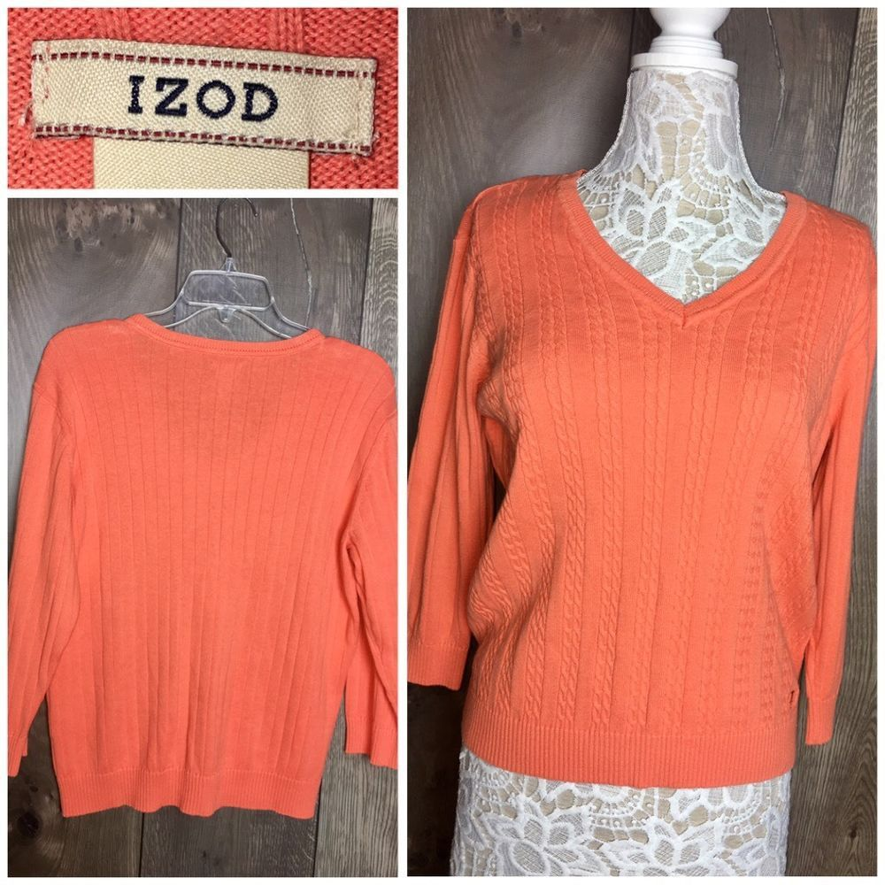 Izod 100% Cotton Woman's Pullover Sweater Orange Cable Knit ...