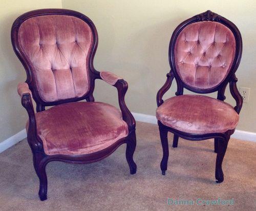 Antique Chair's SET 1800's HIS HERS Dusty Rose Victorian Gentleman Ladies  WALNUT - Antique Chair's SET 1800's HIS HERS Dusty Rose Victorian Gentleman