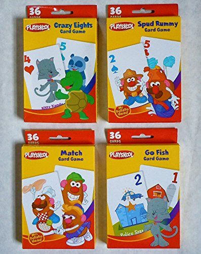 Playskool Card Games 4Pack Crazy Eights Go Fish Mr Potato Head Spud Rummy  Mr Potato Head Match Game -- Be sure to check out this awesome product.