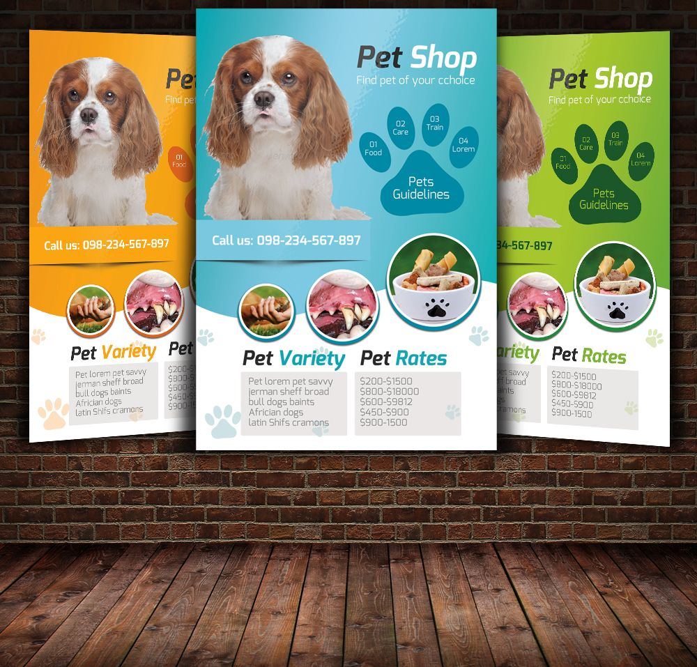 Pet Shop Flyer Template by Leza on Creative Market | Design ...