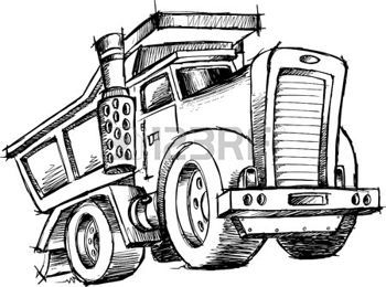cute construction trucks: sketchy Dump Truck Illustration