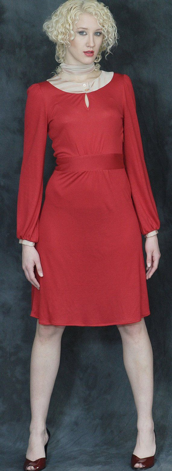 Long sleeve red dress soft jersey dress jersey midi dress long