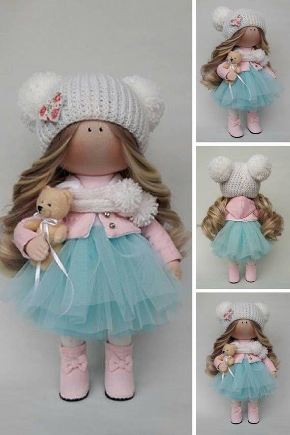 Winter Doll Tilda Doll Handmade Doll Bambole di stoffa Green