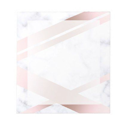 Elegant stylish girly rose gold white marble notepad - minimal - notepad paper template