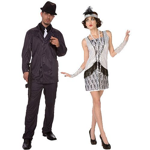 gangster and flapper adult couple halloween costume value bundle