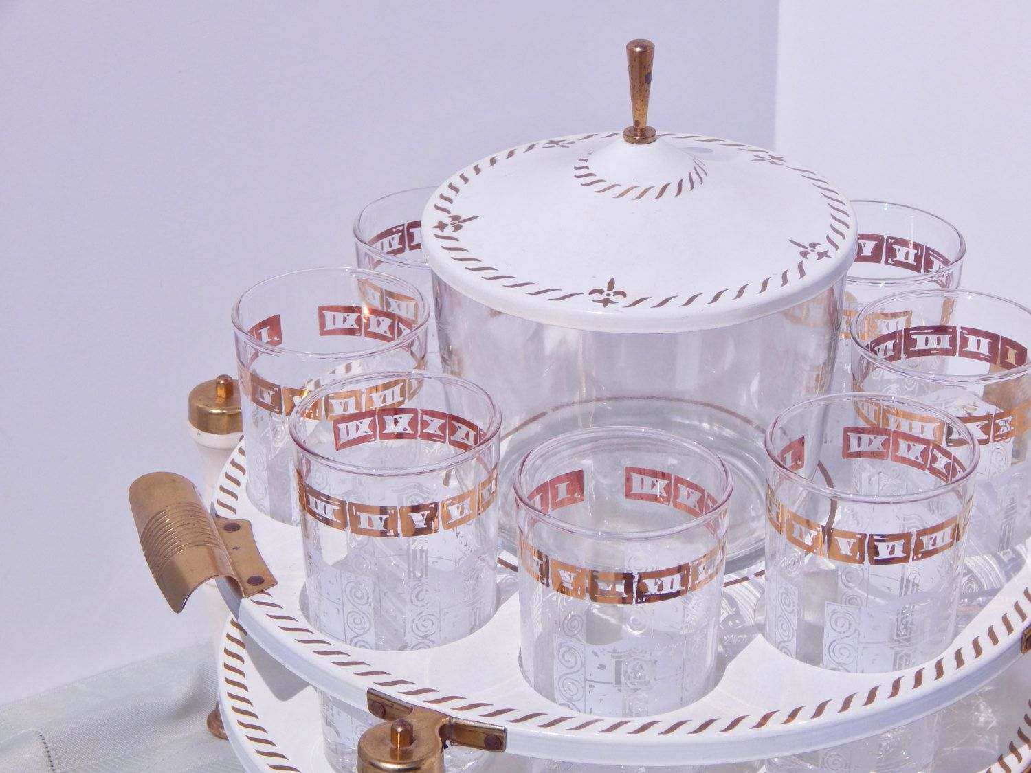 Stunning Mid Century Bar Cocktail Serving Tray Glasses Ice Bucket White Gold French Clocks Time for a Drink Hazel Atlas Culver Libbey Atomic by OffbeatAvenue on Etsy
