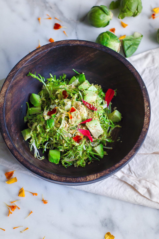 Brussels Sprout Arugula Caesar Salad