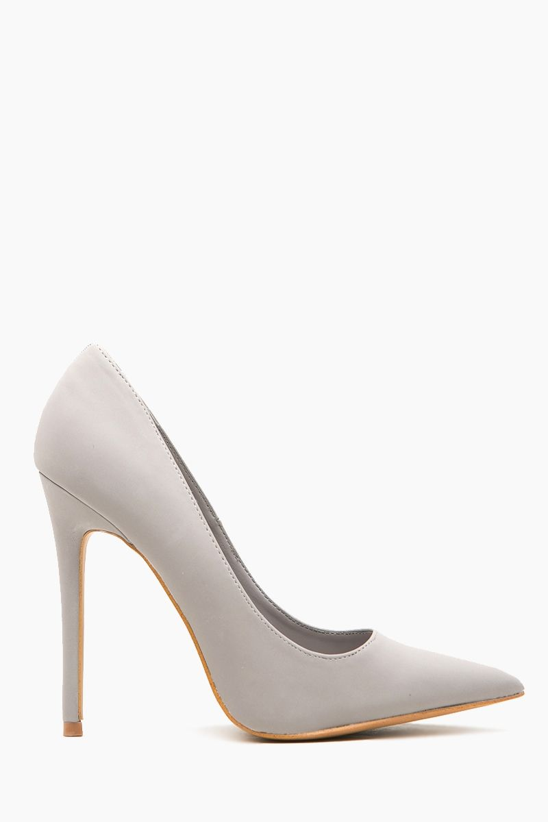 Light Grey Faux Suede Pointy Toe