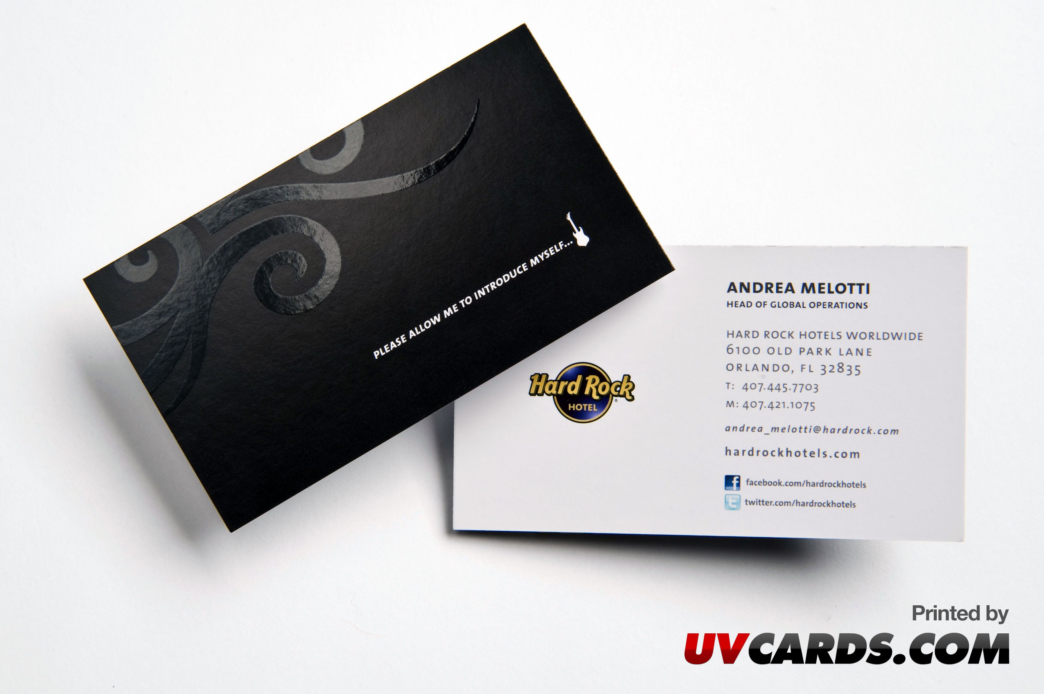 Silk Laminated Business Cards with Spot UV printed for Hard Rock ...