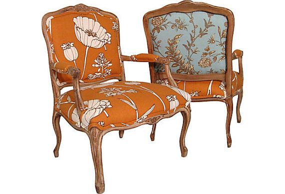 Orange Poppyfield French Bergere Chairs Pair By