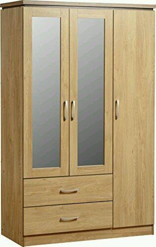 Seconique Charles 3 Door 2 Drawer Mirrored Wardrobe - Oak Veneer & Walnut Trim