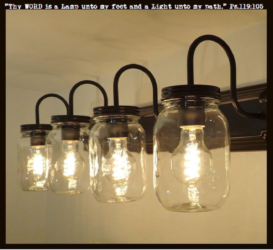 Mason Jar Vanity Light: Mason Jar VANITY 4-Light New Quart Clear