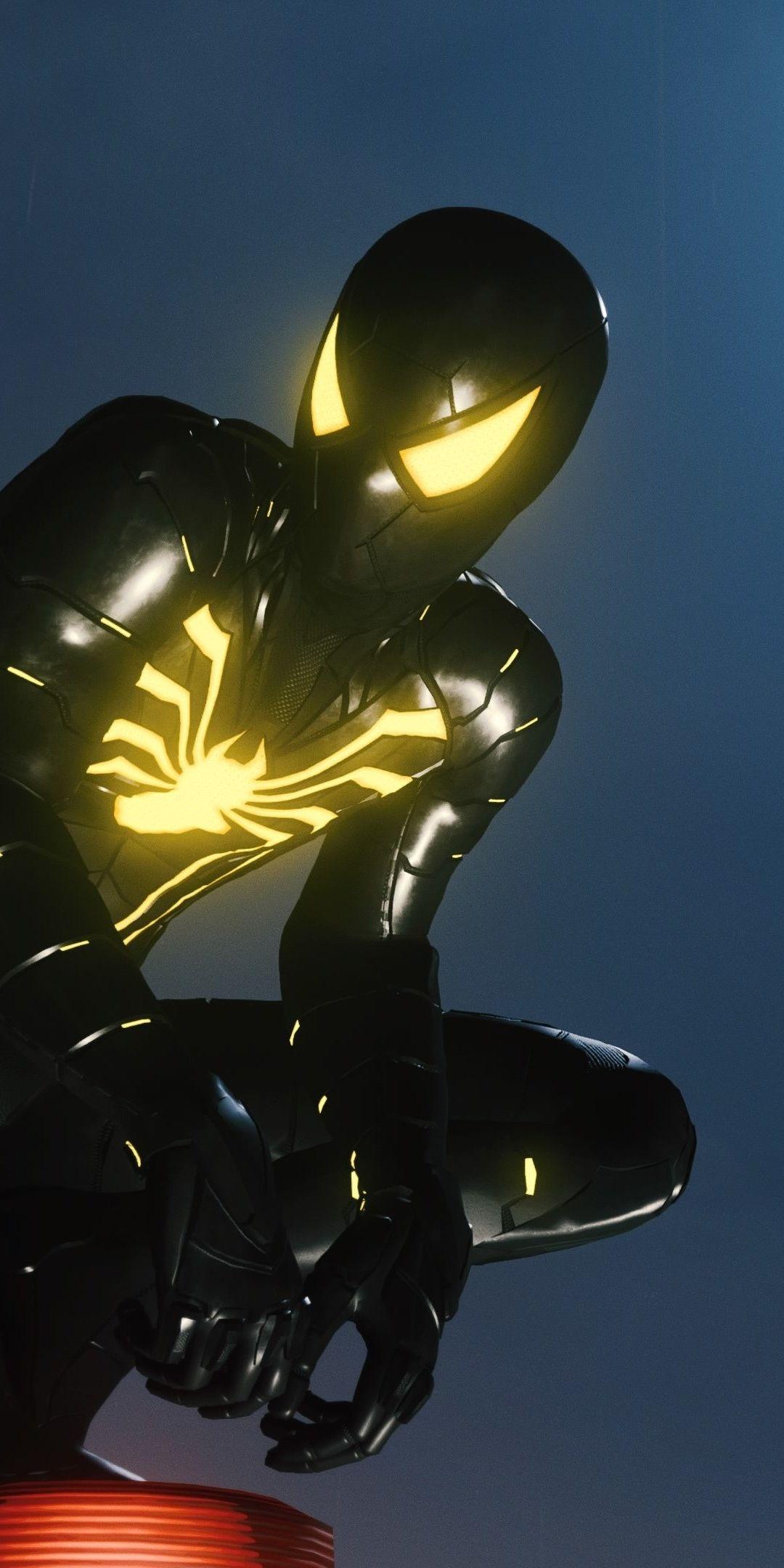 Spider Man Armour Mk Ii Suit Dark Black X Wallpaper