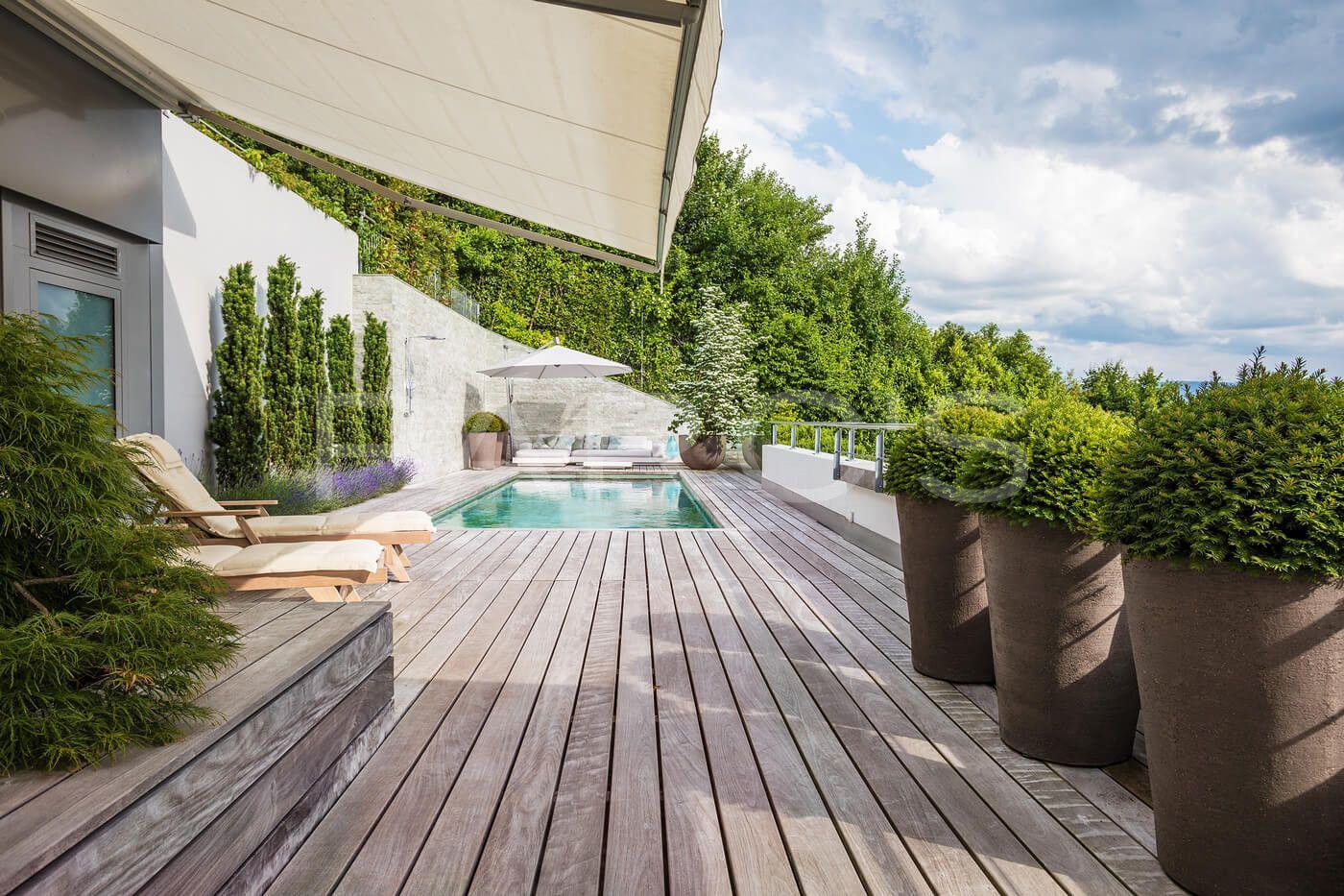 Terrassenumgestaltung Mit Pool Parc S Gartengestaltung Gartengestaltung Garten Terrasse Terrasse