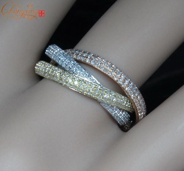 SOLID 14kt 3 Color Gold 280ct Natural Diamond Engagement Ring
