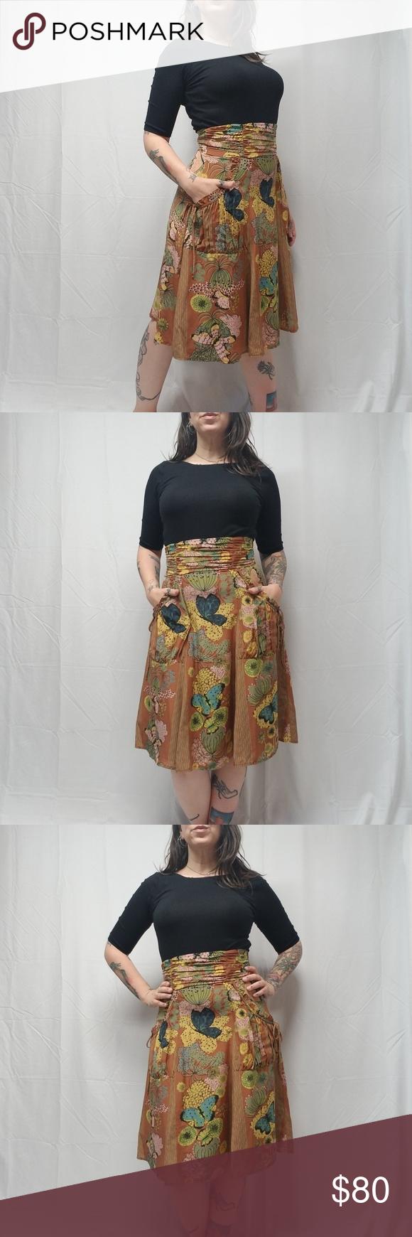 ca173c6ce4e636 NANETTE LEPORE 100% Silk Butterfly Cactus Skirt NANETTE LEPORE.  348 retail  High Waisted Skirt