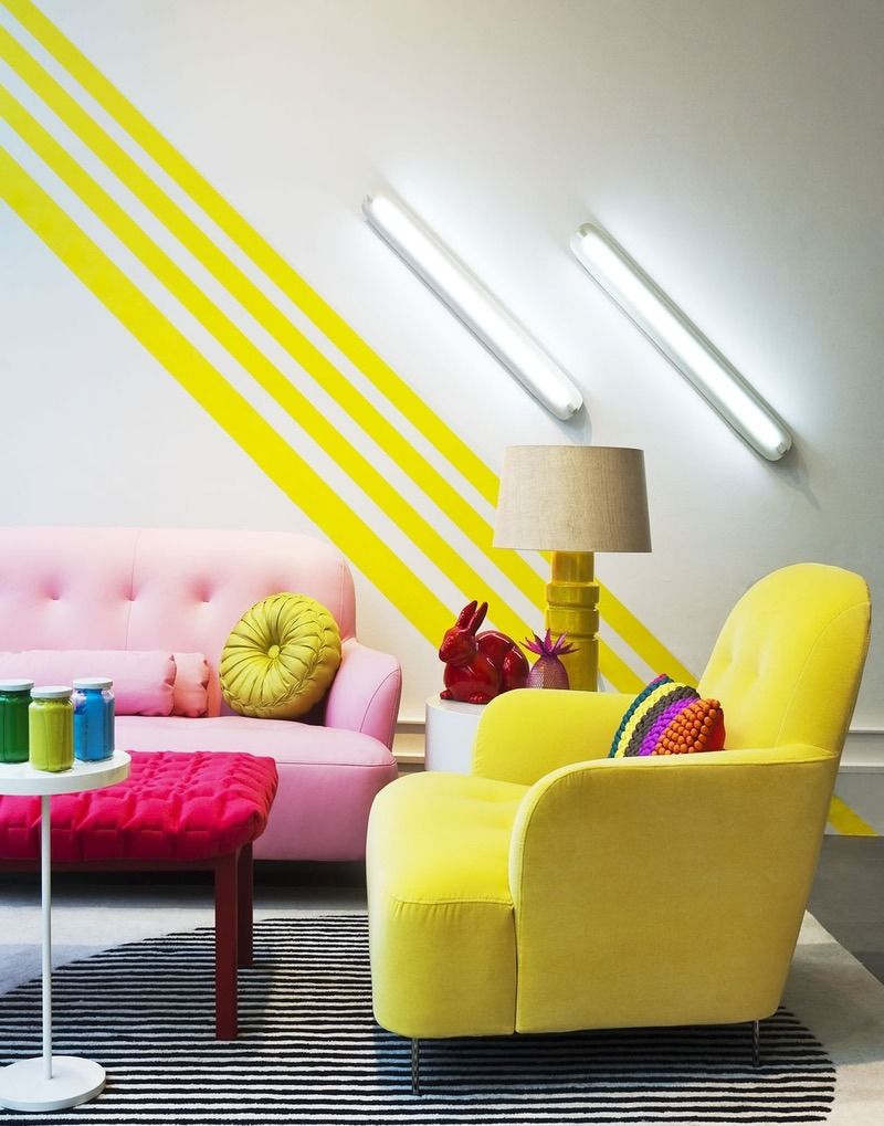 A little modern + a lot colorful, this bold living room is bright in ...