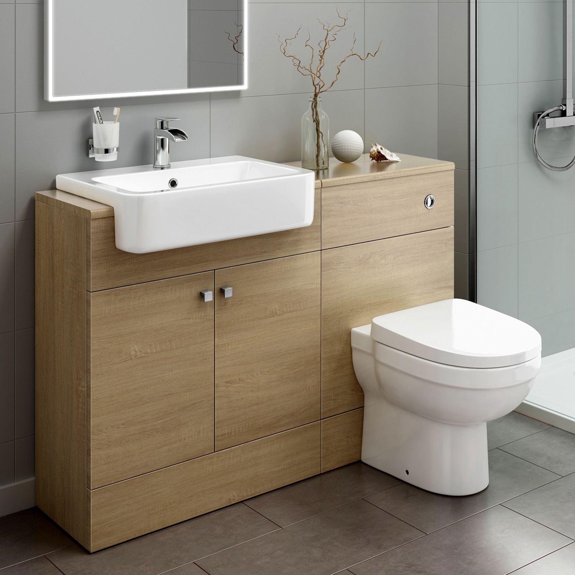 1160mm Harper Oak Effect Combined Vanity Unit Sabrosa Ii Pan Bathroom Units Bathroom Furniture Storage Bathroom Vanity Units